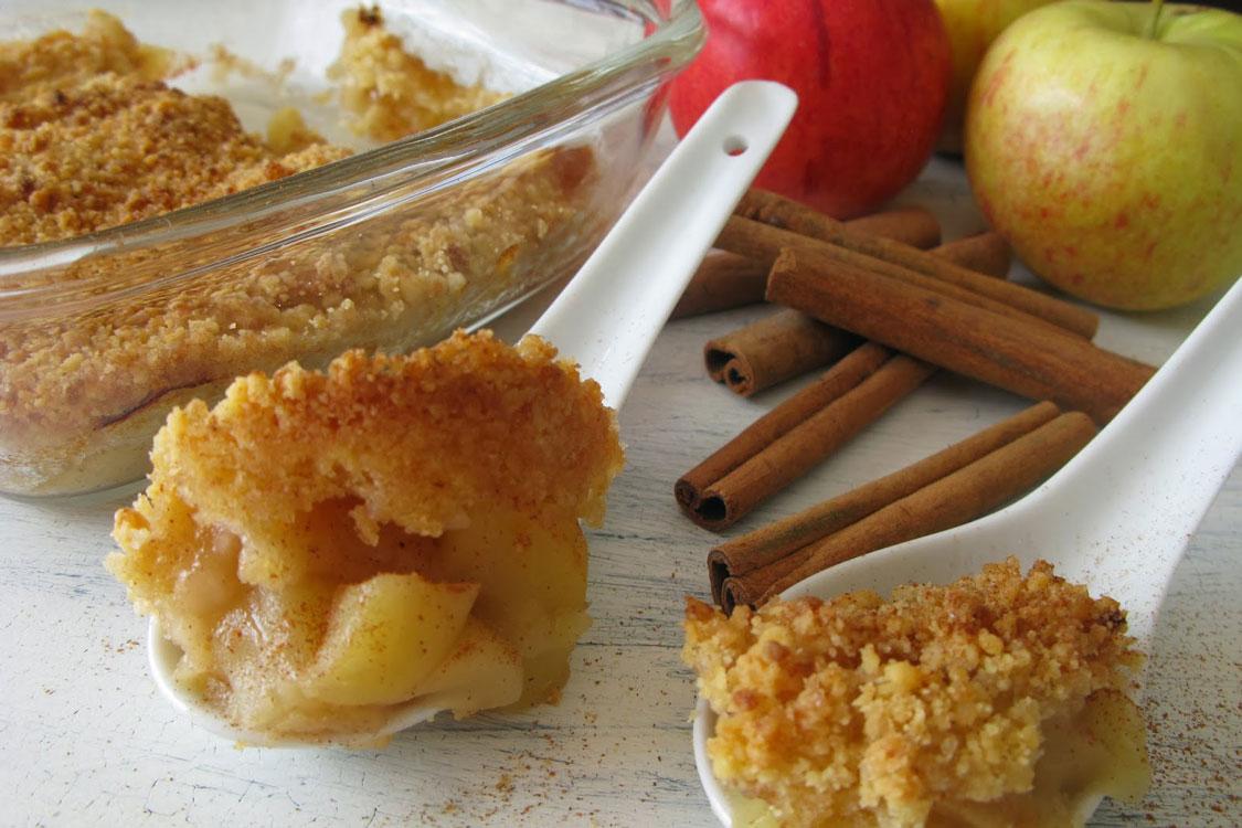 Crumble de maçã, uma mistura de sensações