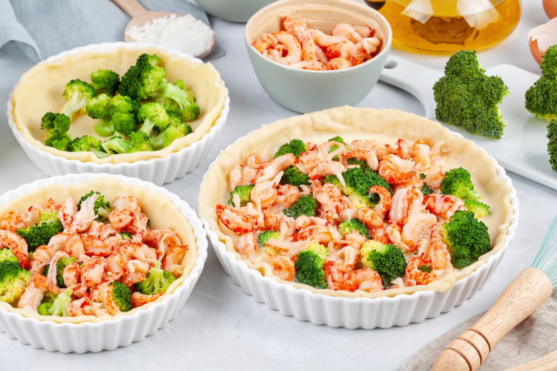 Receita de quiche de camarão e brócolos