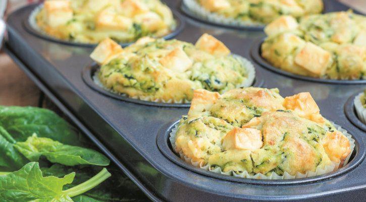 Muffins de espinafres e feta