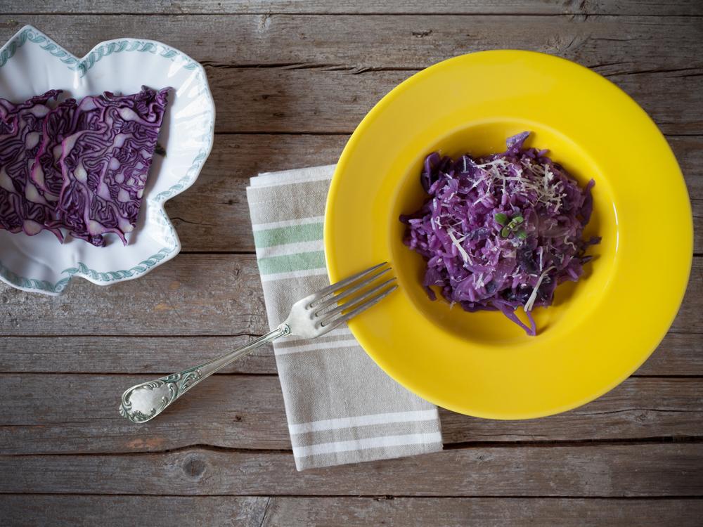 A receita de risoto de couve roxa do Edmundo Rosa