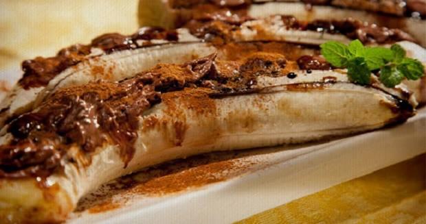 Receita de banana assada com chocolate
