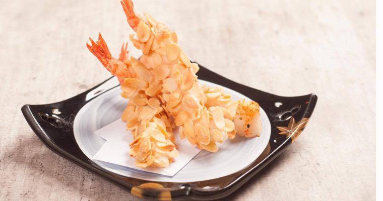 Receita de tempura de camarões com amêndoa do Rúben Rua