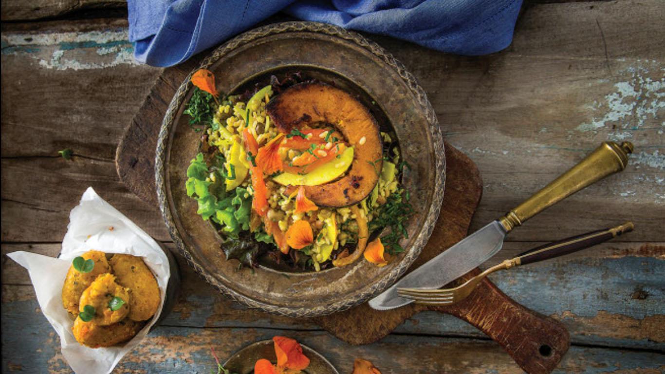 Salada de abóbora com arroz integral