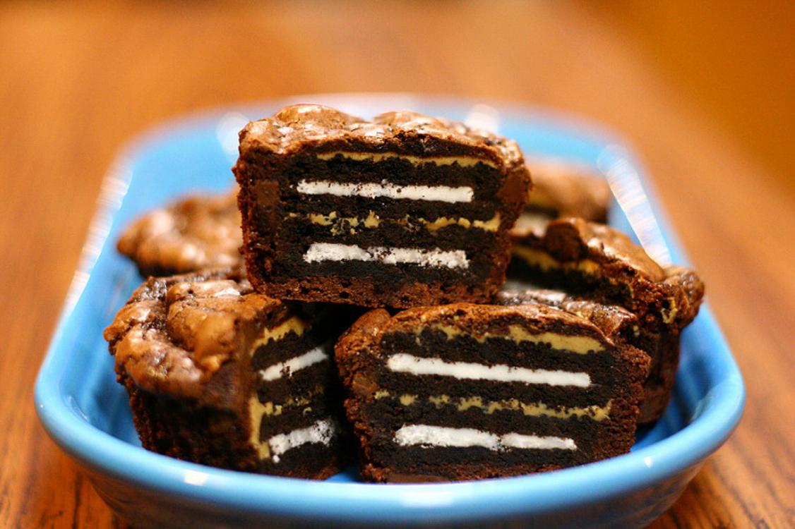 Brownies de Oreo e manteiga de amendoim