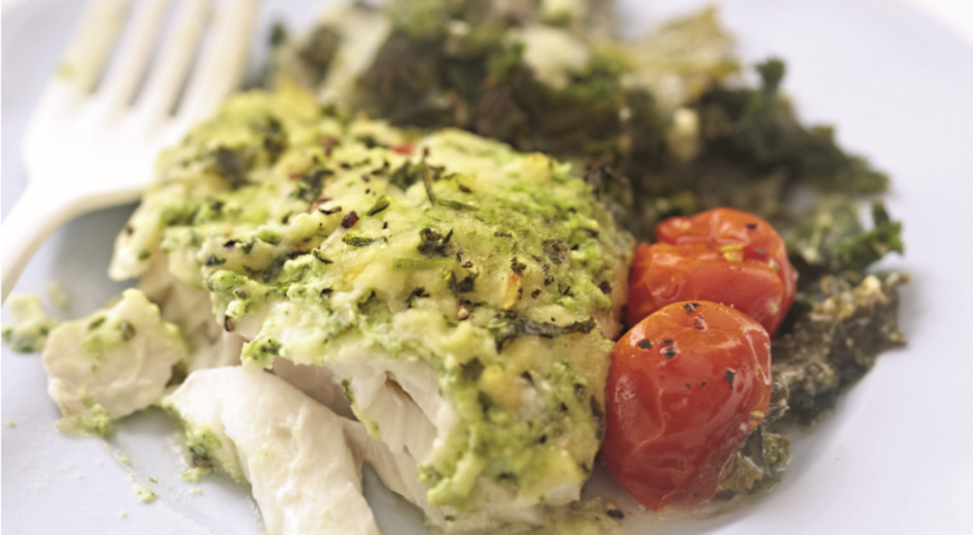 Bacalhau com crumble verde