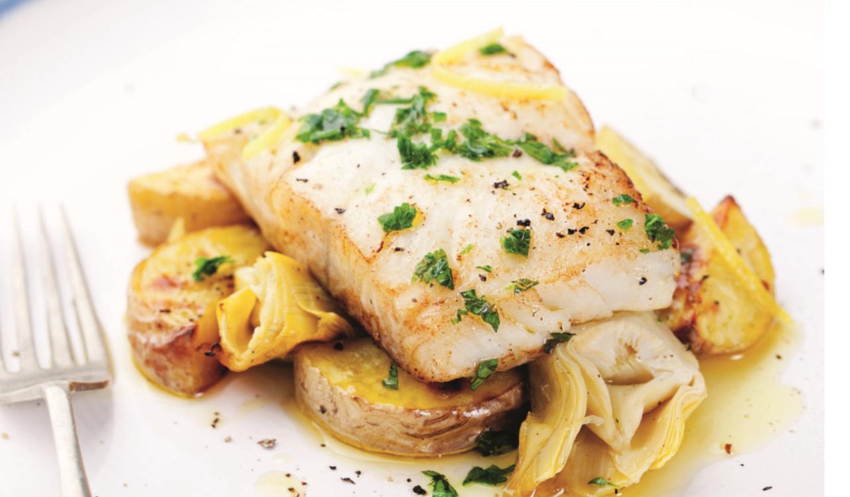Receita de bacalhau no forno com alcachofras