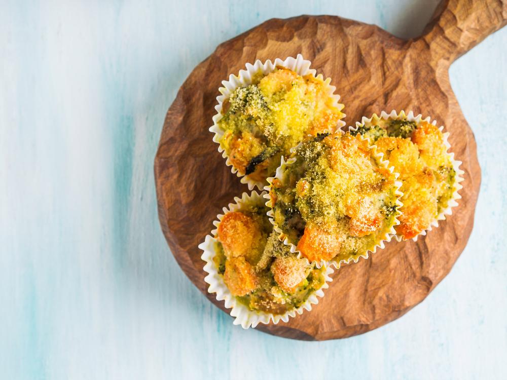 Muffins de cenoura e brócolos