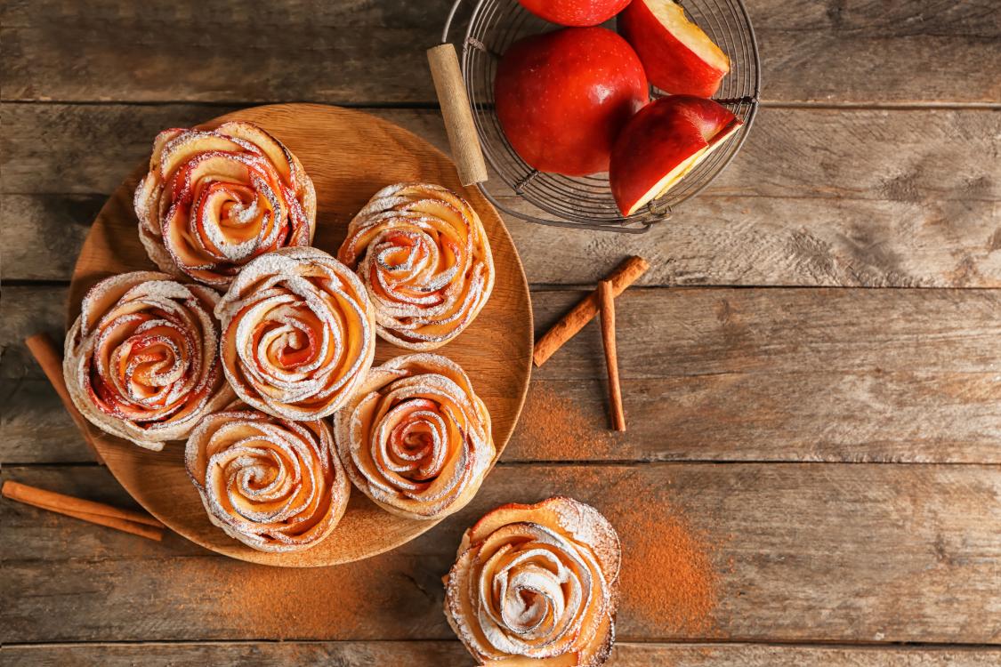 Receita de rosas de maçã e canela