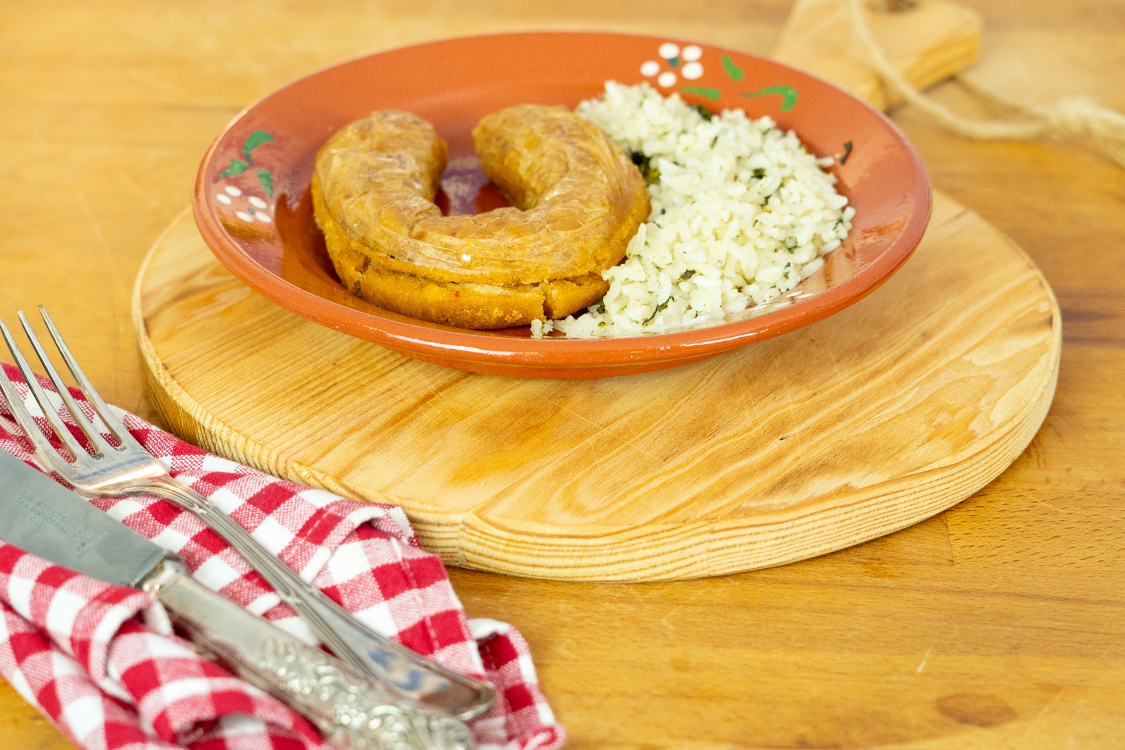 Receita de alheira com arroz de grelos