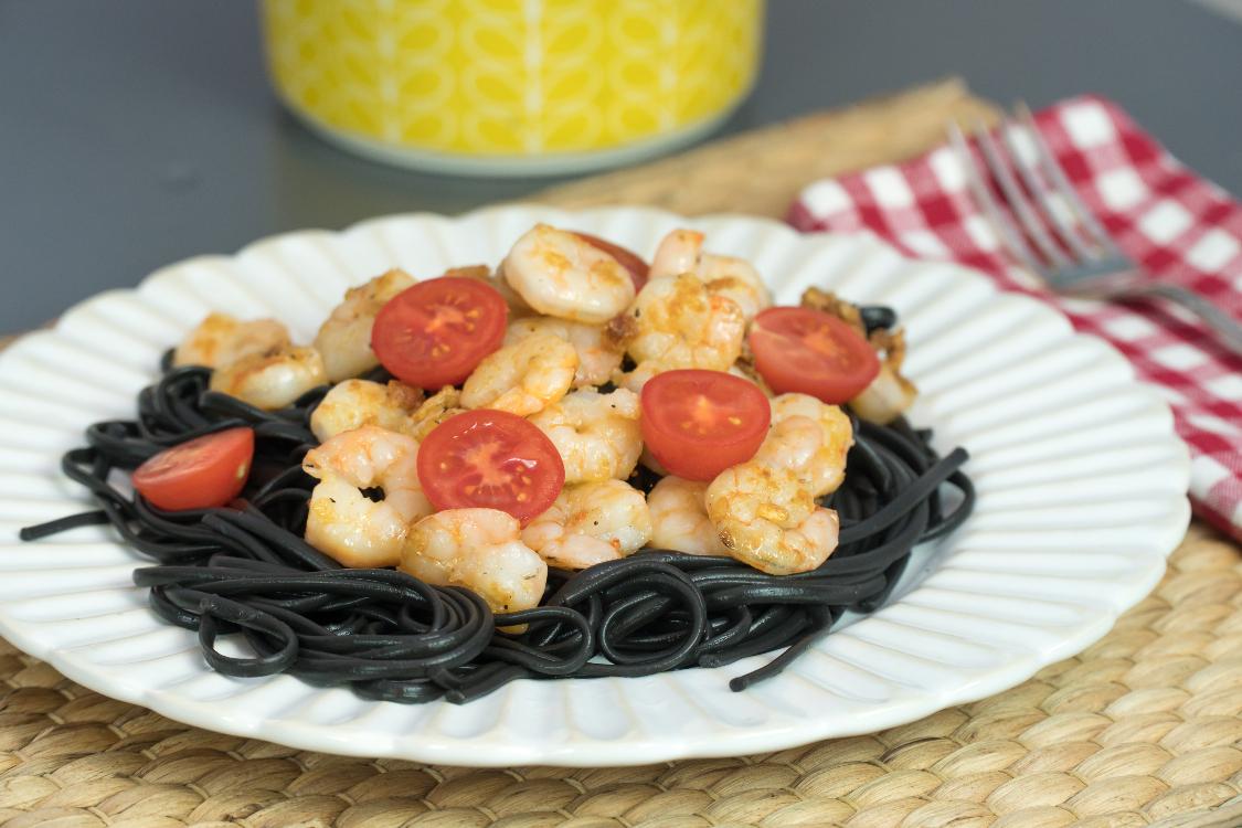 Esparguete negro com gambas