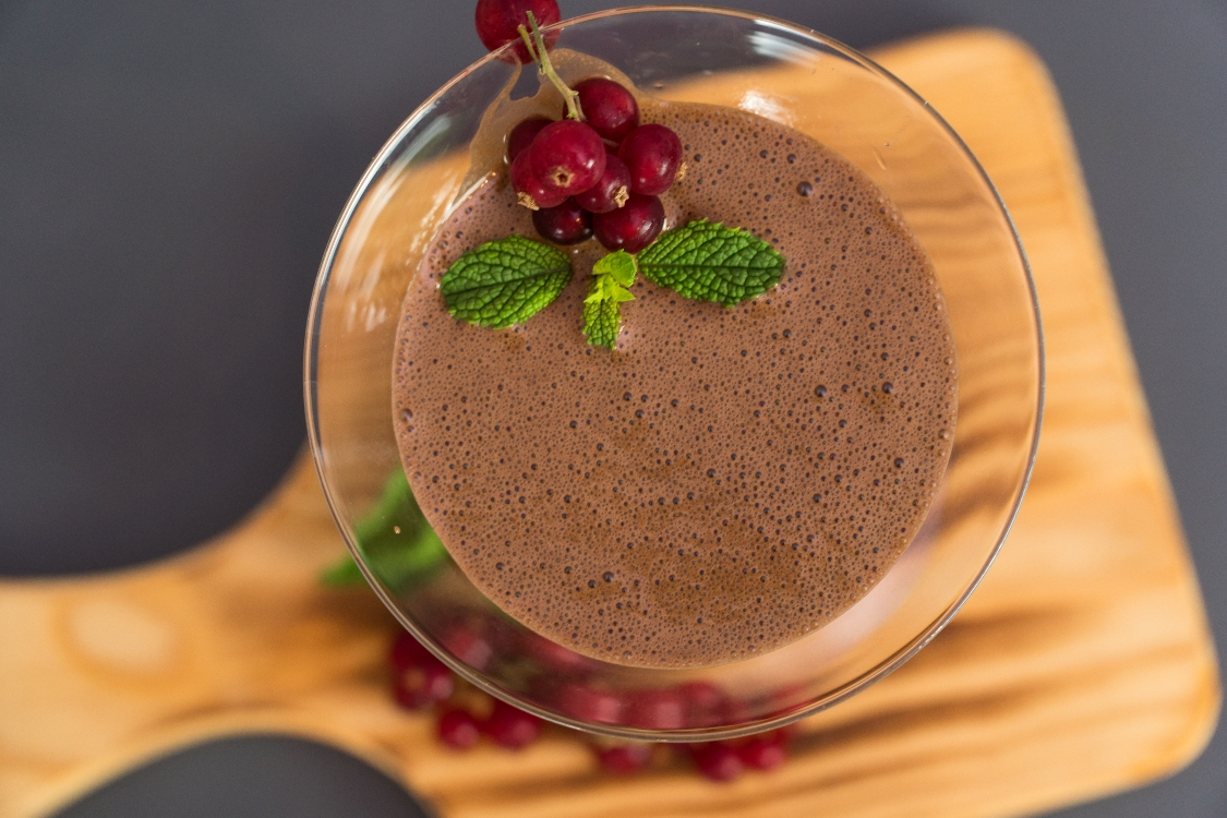 Receita de mousse de chocolate vegan