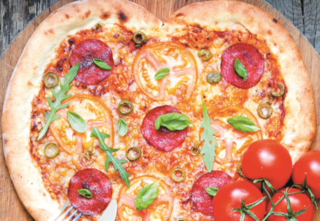 Pizza de salame coração