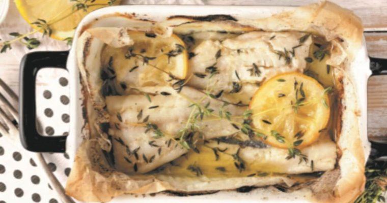 Filetes de bacalhau assado em marinada de tomilho e limão