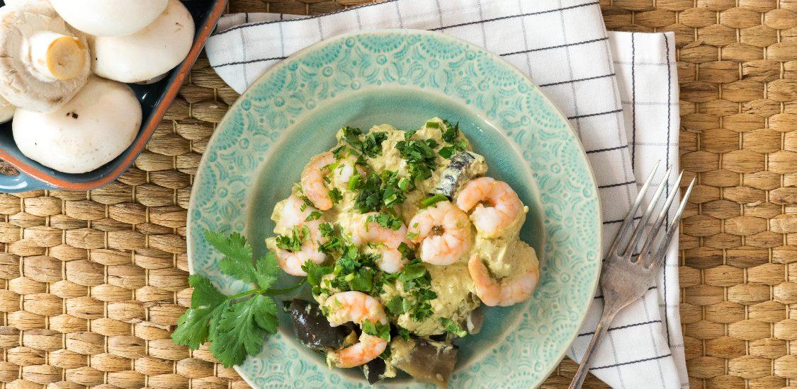 Caril verde de cogumelos e gambas: para um Dia dos Namorados mais picante… e saboroso!
